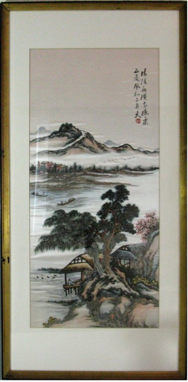 DIPTYCH CHINESE SILK EMBROIDERY LANDSCAPE PANELS - 3