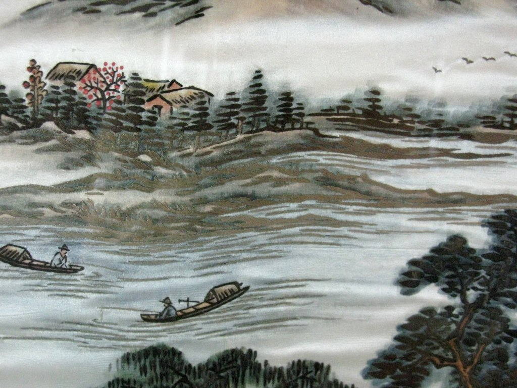 DIPTYCH CHINESE SILK EMBROIDERY LANDSCAPE PANELS - 6