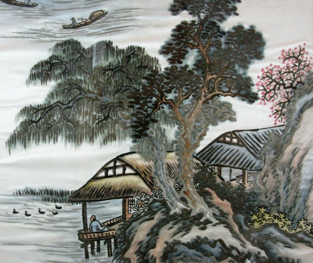 DIPTYCH CHINESE SILK EMBROIDERY LANDSCAPE PANELS - 7