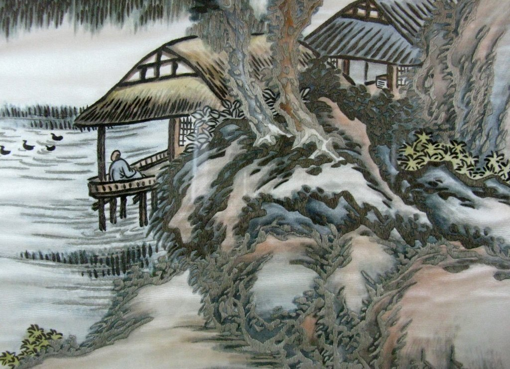 DIPTYCH CHINESE SILK EMBROIDERY LANDSCAPE PANELS - 8