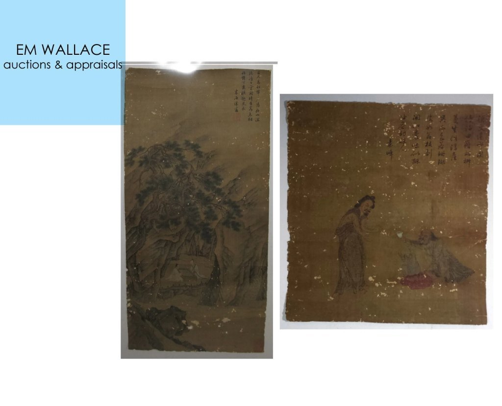 2 @ CHINESE SILK PAINTINGS PLAYING GO & FIGURATIVE