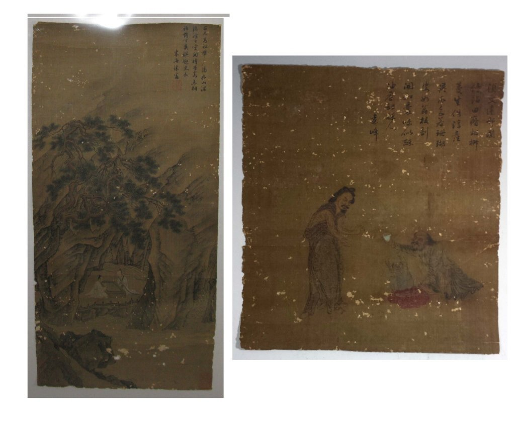 2 @ CHINESE SILK PAINTINGS PLAYING GO & FIGURATIVE - 2