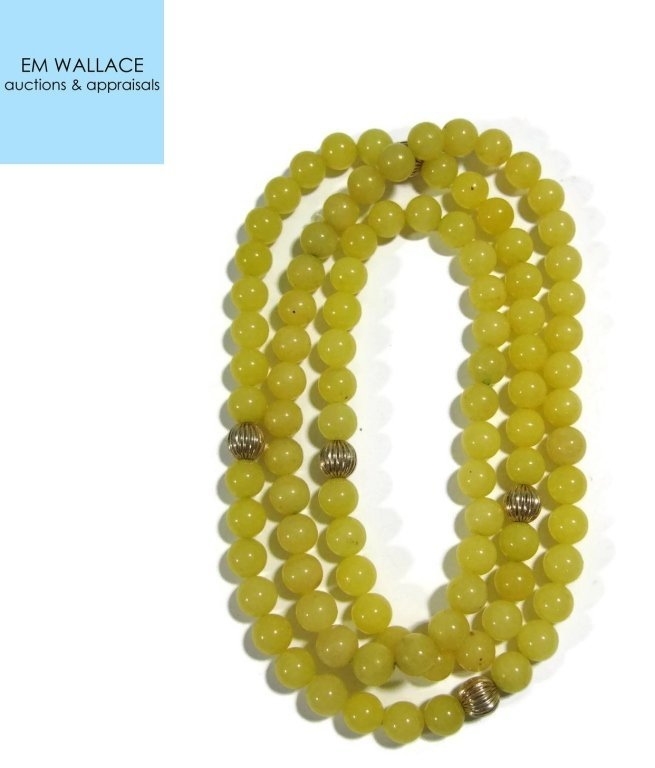 NECKLACE WITH 14K GOLD BEADS & YELLOW JADE
