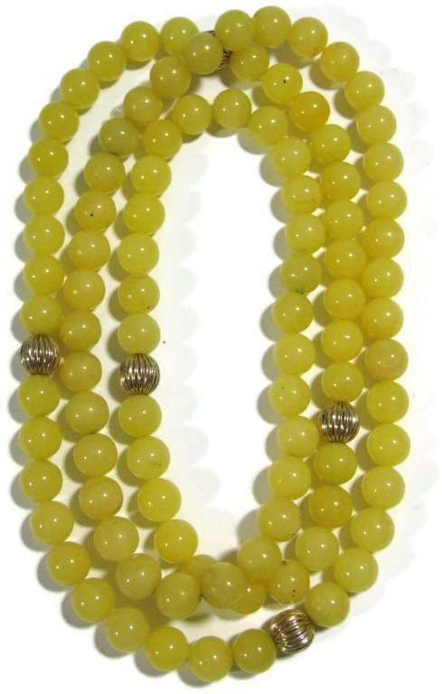 NECKLACE WITH 14K GOLD BEADS & YELLOW JADE - 3