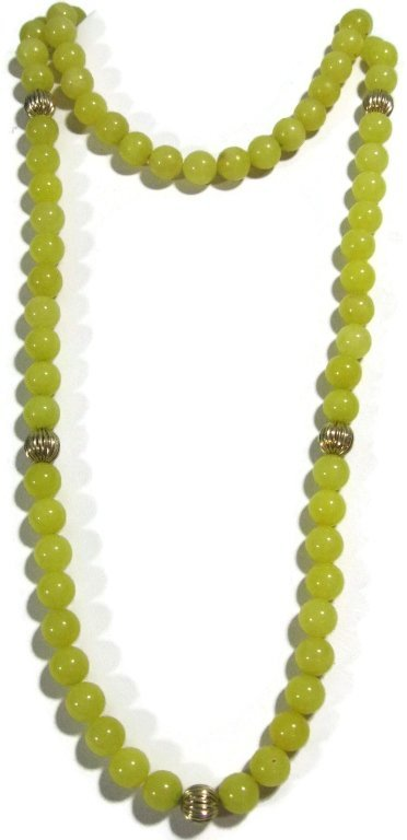 NECKLACE WITH 14K GOLD BEADS & YELLOW JADE - 4