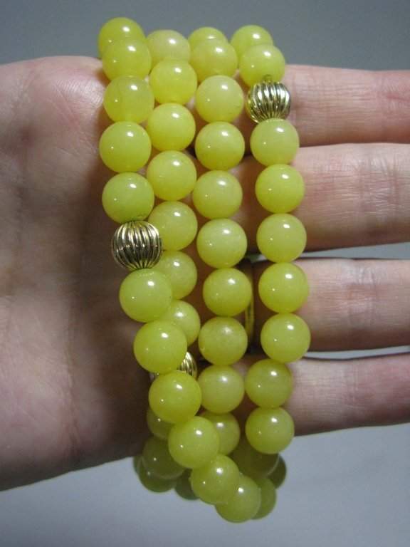 NECKLACE WITH 14K GOLD BEADS & YELLOW JADE - 5