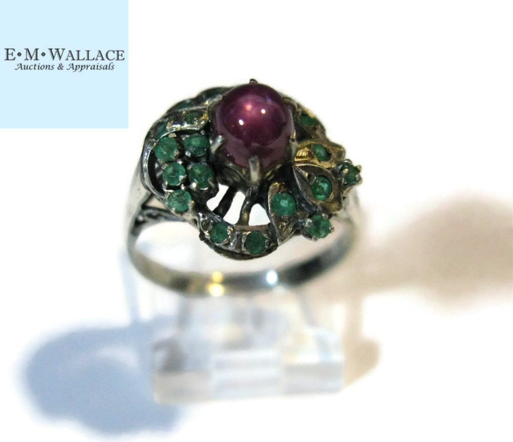 10k WHITE GOLD RING WITH PIGEON'S BLOOD STAR RUBY - 4