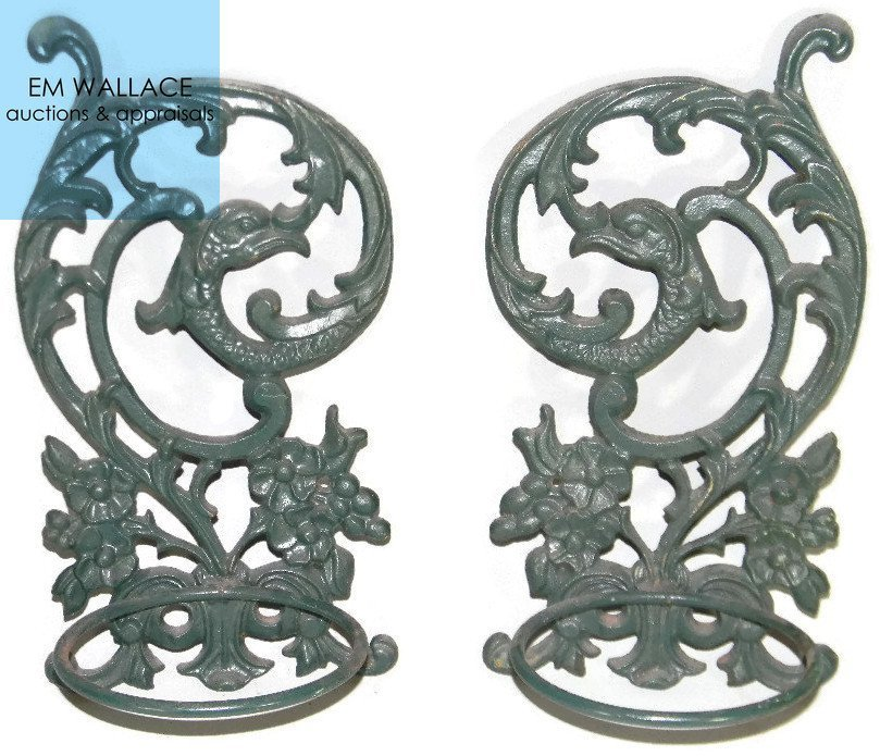 2 @ CAST IRON WALL PLANTERS W/ GROTESQUES