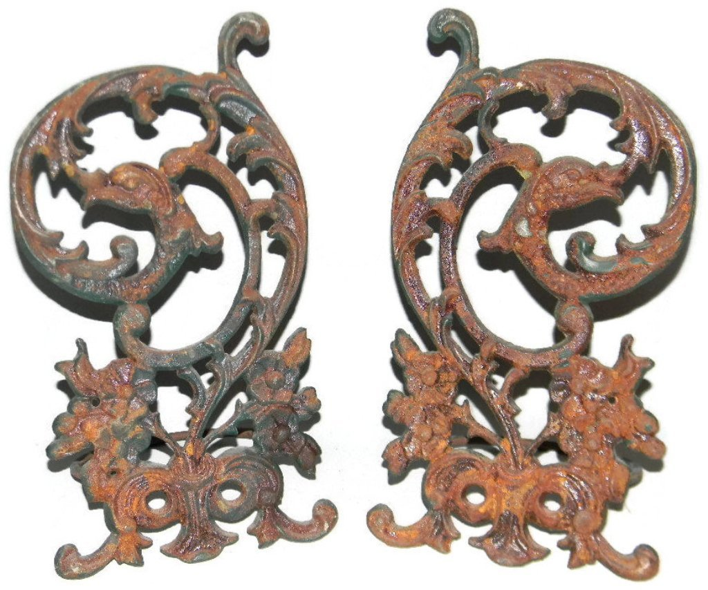 2 @ CAST IRON WALL PLANTERS W/ GROTESQUES - 6