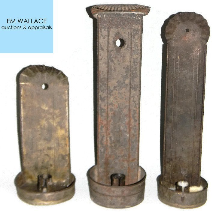 THREE ANTIQUE PRIMITIVE TIN WALL CANDLE SCONCES
