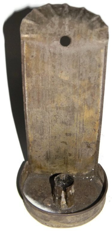 THREE ANTIQUE PRIMITIVE TIN WALL CANDLE SCONCES - 3