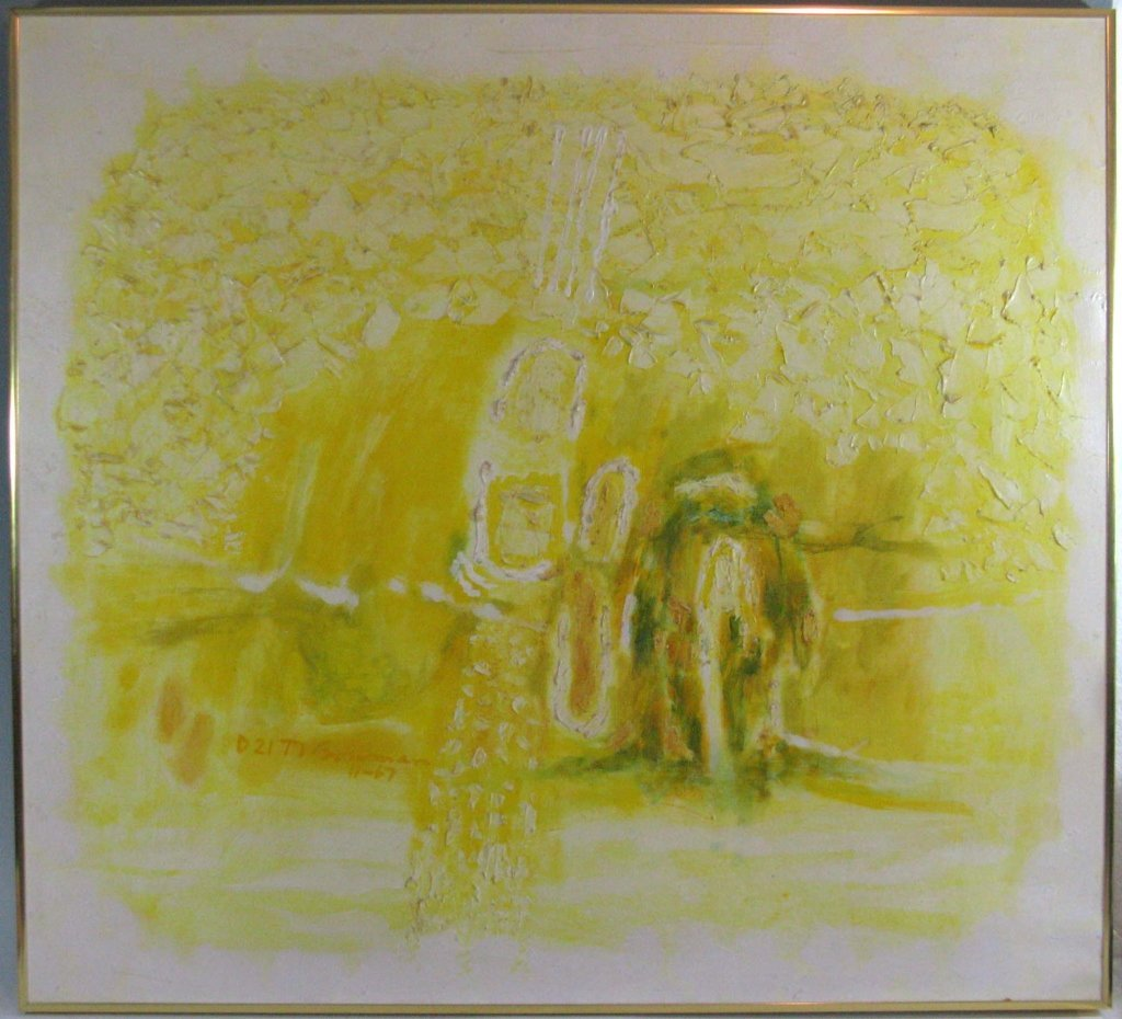 RICHARD BOWMAN ABSTRACT OIL ON CANVAS 1967