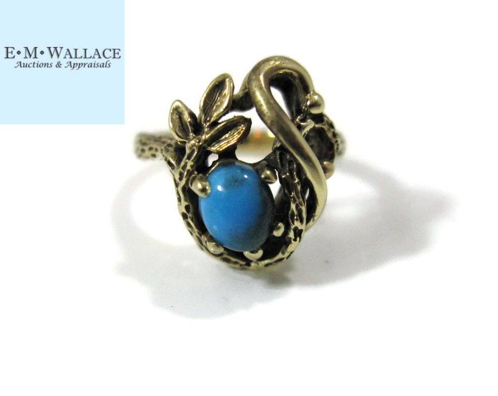 BRUCE MEAD RING 14K GOLD & BISBEE TURQUOISE