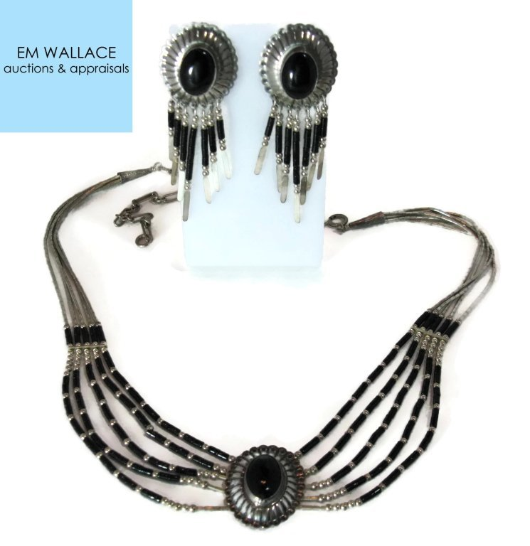 ONYX CONCHO STERLING SILVER NECKLACE & EARRINGS