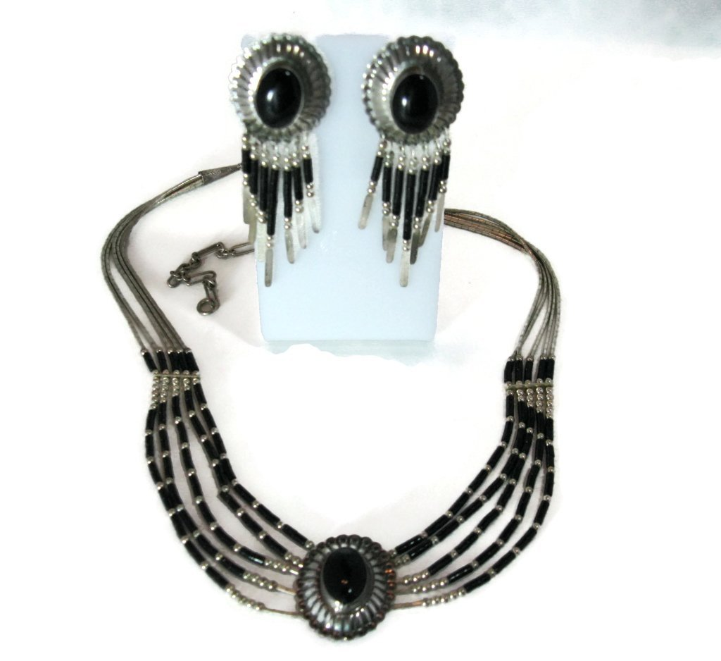 ONYX CONCHO STERLING SILVER NECKLACE & EARRINGS - 2
