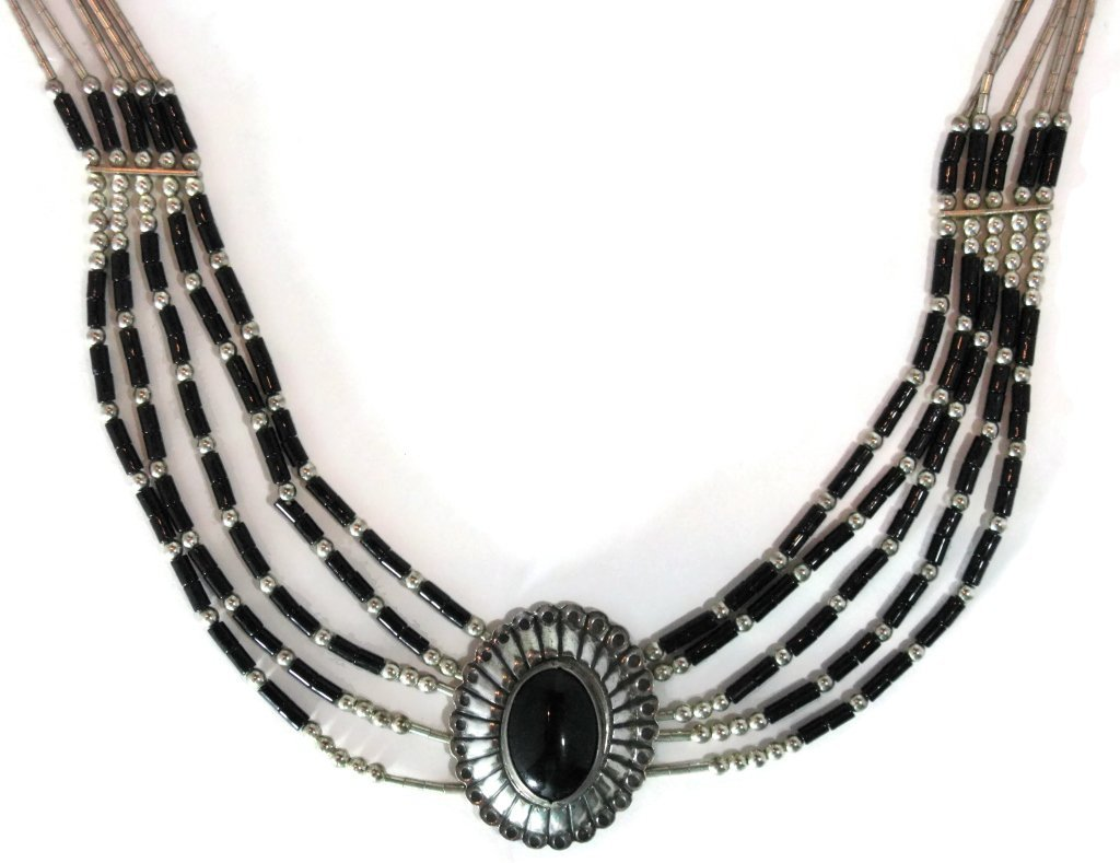 ONYX CONCHO STERLING SILVER NECKLACE & EARRINGS - 4