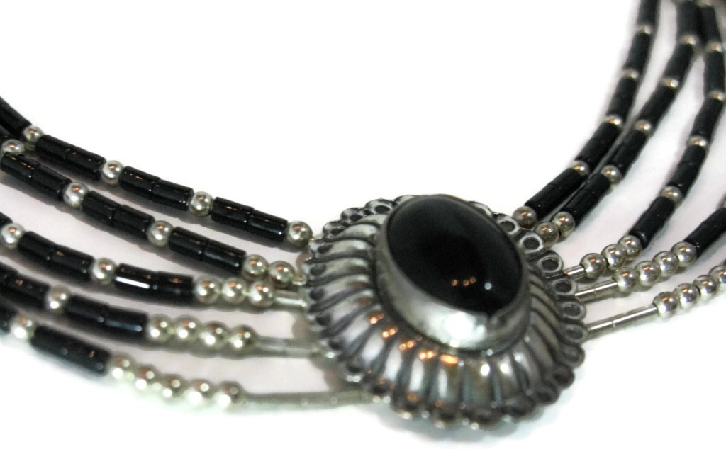 ONYX CONCHO STERLING SILVER NECKLACE & EARRINGS - 5