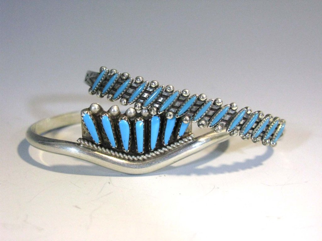 2 @ ZUNI PETIT POINT TURQUOISE & STERLING CUFFS