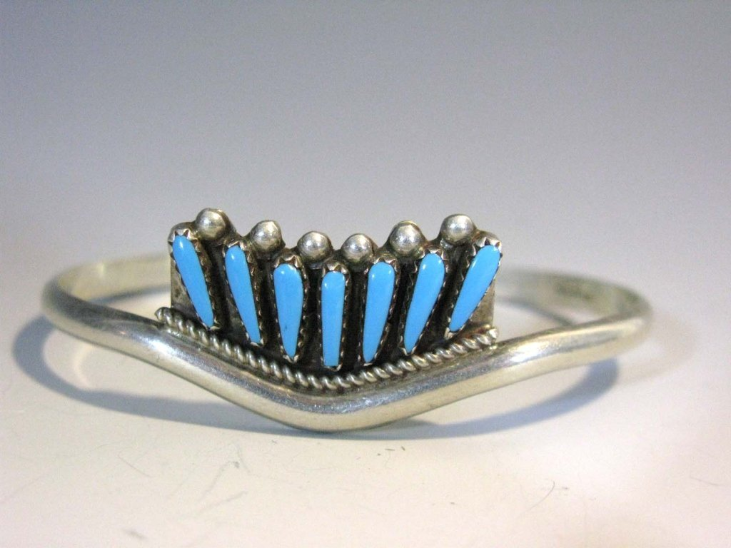 2 @ ZUNI PETIT POINT TURQUOISE & STERLING CUFFS - 2
