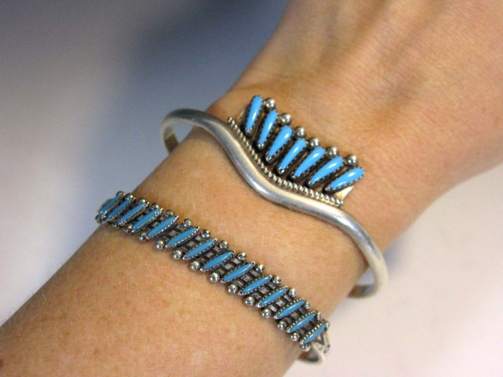 2 @ ZUNI PETIT POINT TURQUOISE & STERLING CUFFS - 5