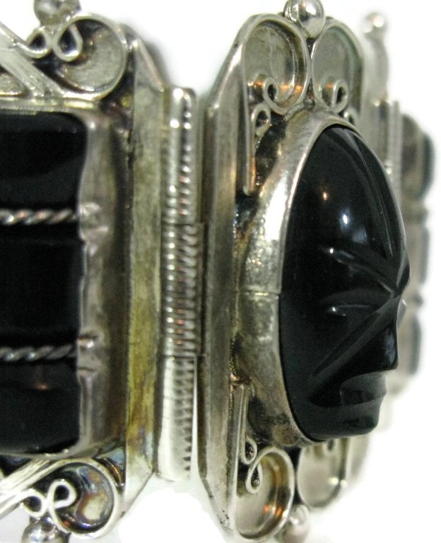 980 STERLING TAXCO ONYX MASK CUFF BRACELET - 4