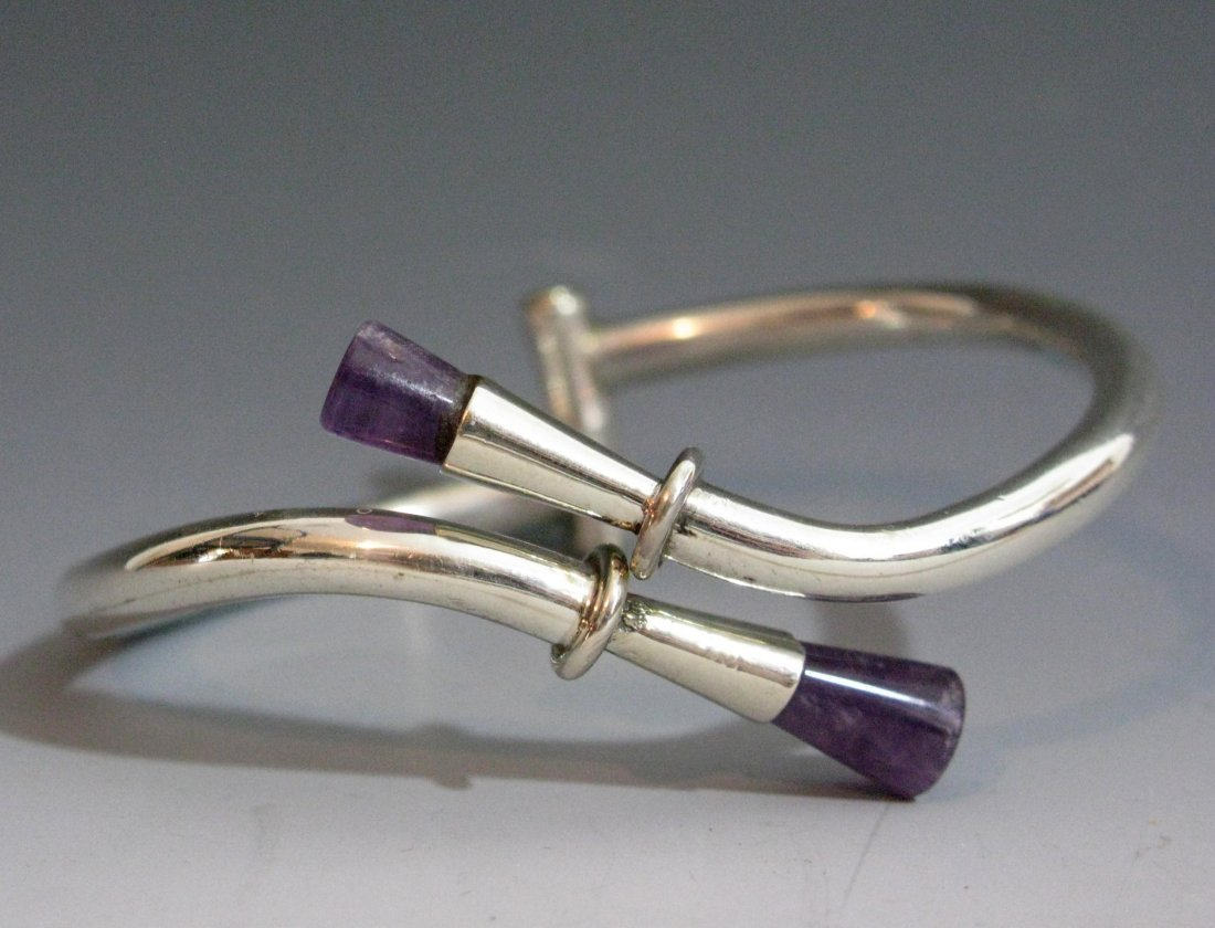 VINTAGE TAXCO MEXICO 925 STERLING AMETHYST BYPASS CUFF - 2