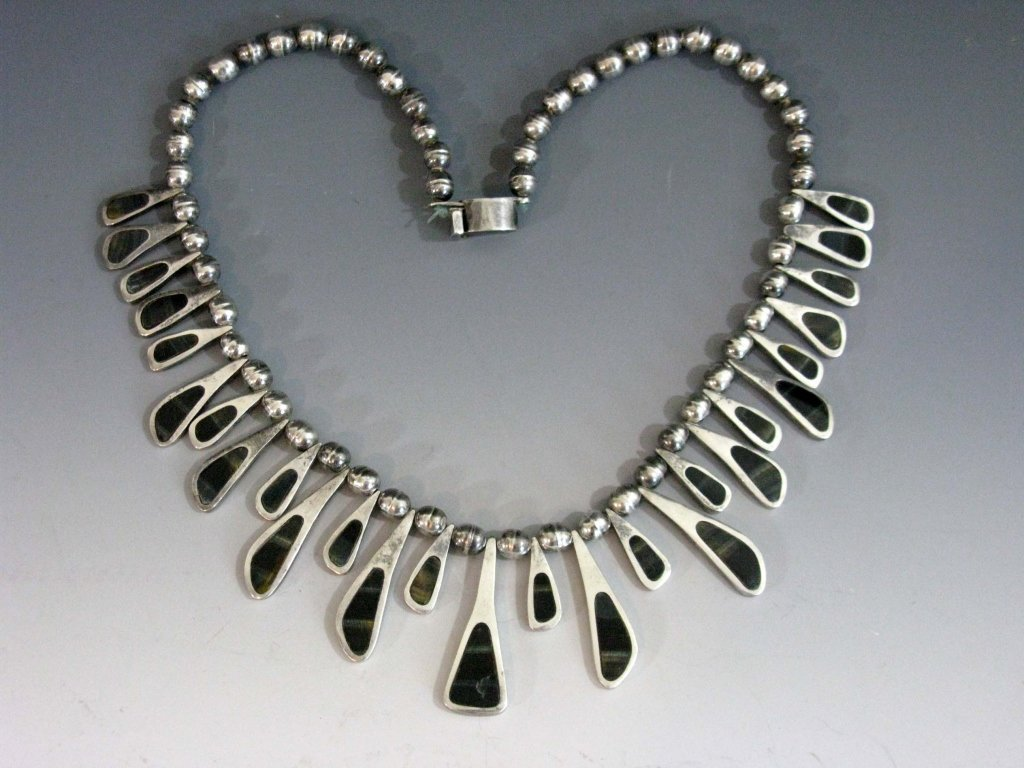 TAXCO STERLING COLLAR NECKLACE W/ BLUE TIGER'S EYE