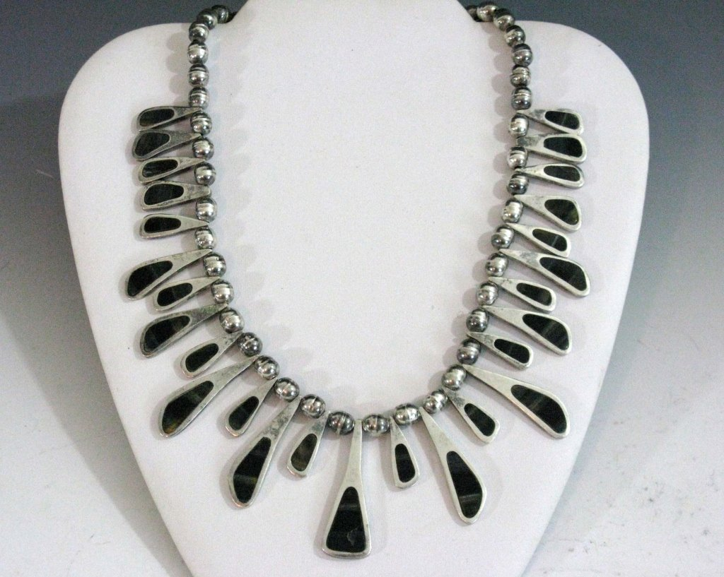 TAXCO STERLING COLLAR NECKLACE W/ BLUE TIGER'S EYE - 2
