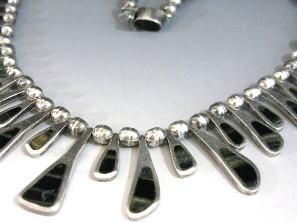 TAXCO STERLING COLLAR NECKLACE W/ BLUE TIGER'S EYE - 3