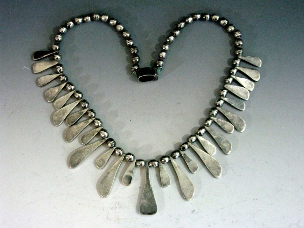 TAXCO STERLING COLLAR NECKLACE W/ BLUE TIGER'S EYE - 5