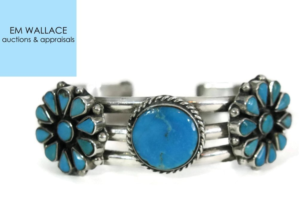 TAXCO SIGNED 925 SILVER & TURQUOISE CUFF BRACELET