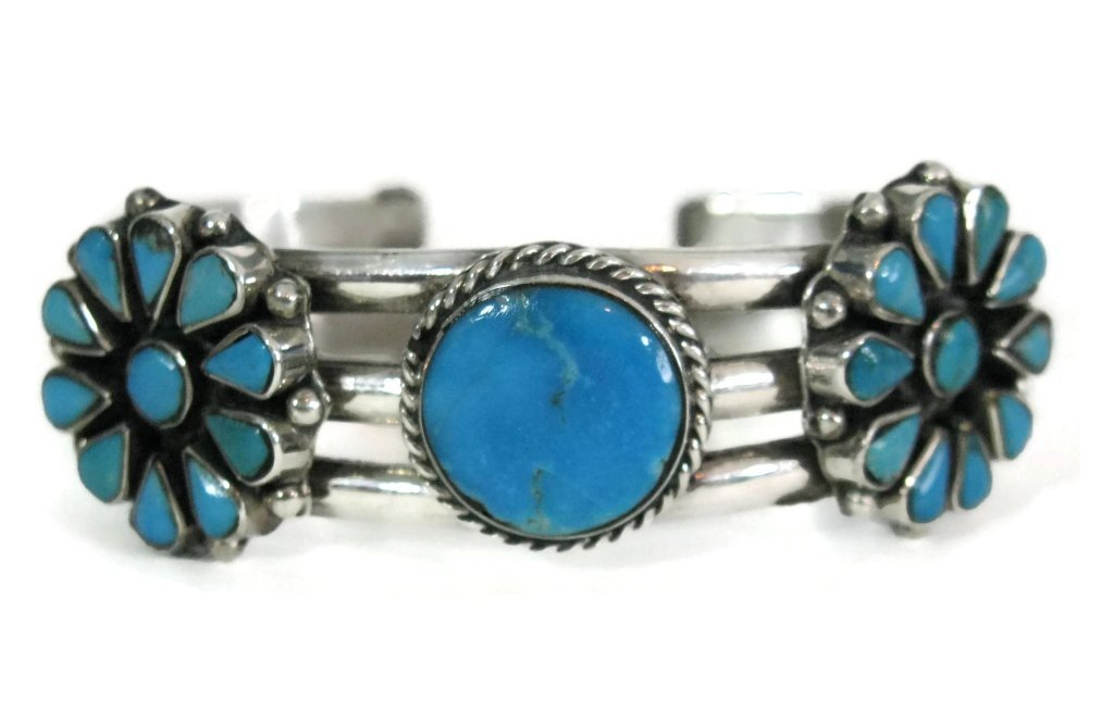 TAXCO SIGNED 925 SILVER & TURQUOISE CUFF BRACELET - 2