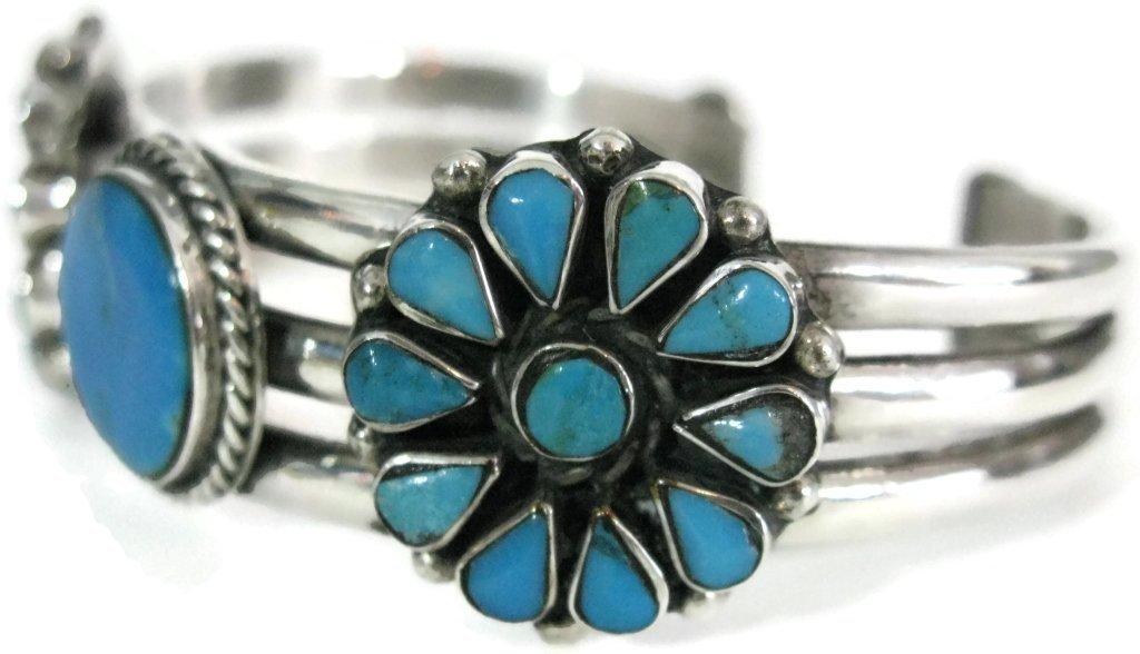 TAXCO SIGNED 925 SILVER & TURQUOISE CUFF BRACELET - 3