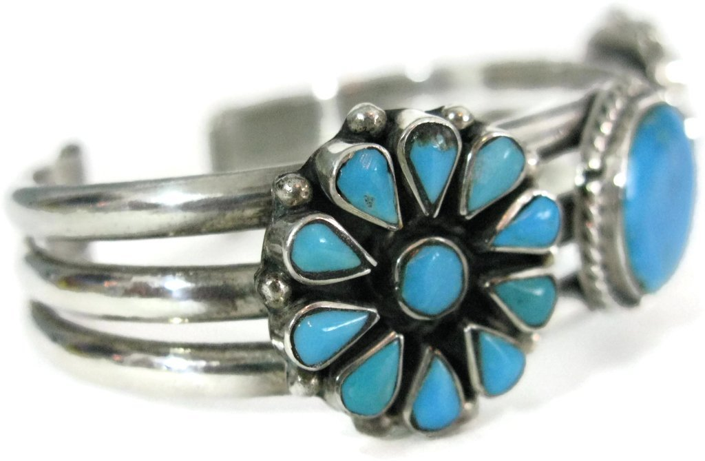 TAXCO SIGNED 925 SILVER & TURQUOISE CUFF BRACELET - 4
