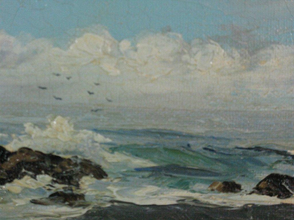 V LYNN CALIFORNIA PLEIN AIRE SEASCAPE OIL CANVAS - 3