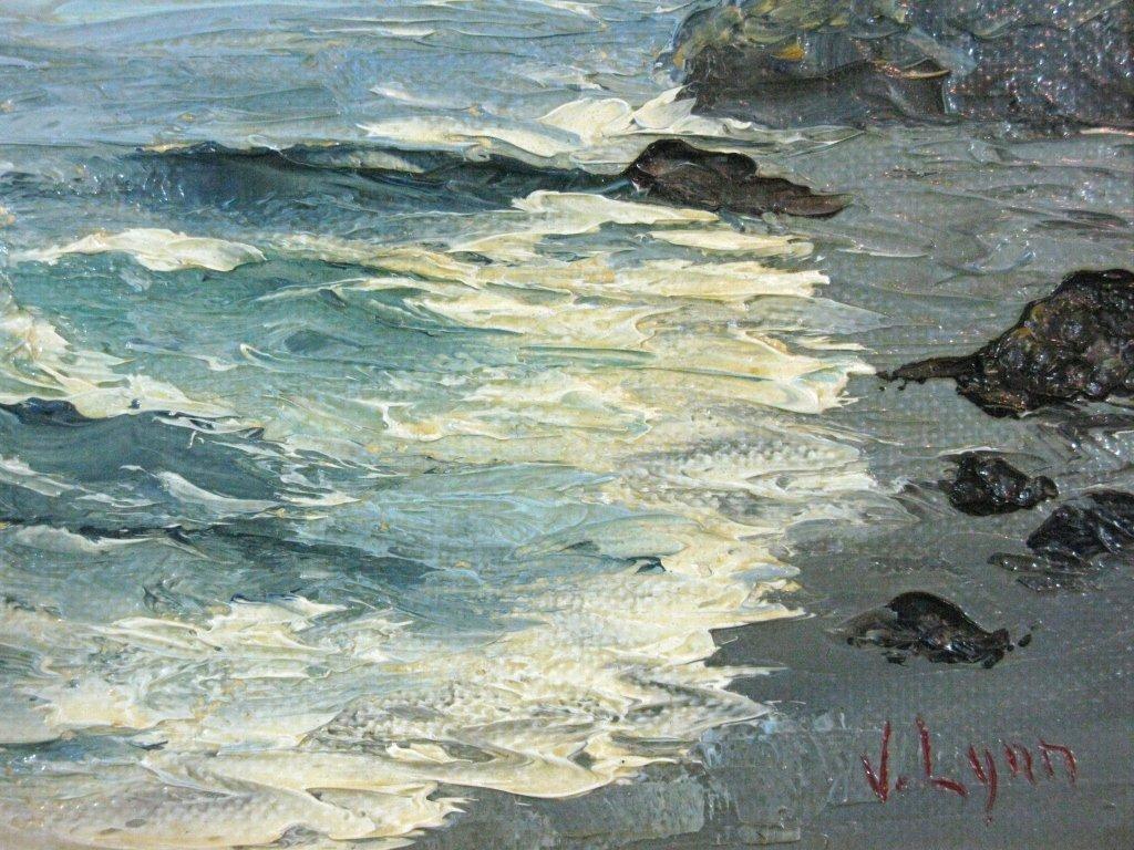 V LYNN CALIFORNIA SEASCAPE PLEIN AIRE OIL CANVAS - 7