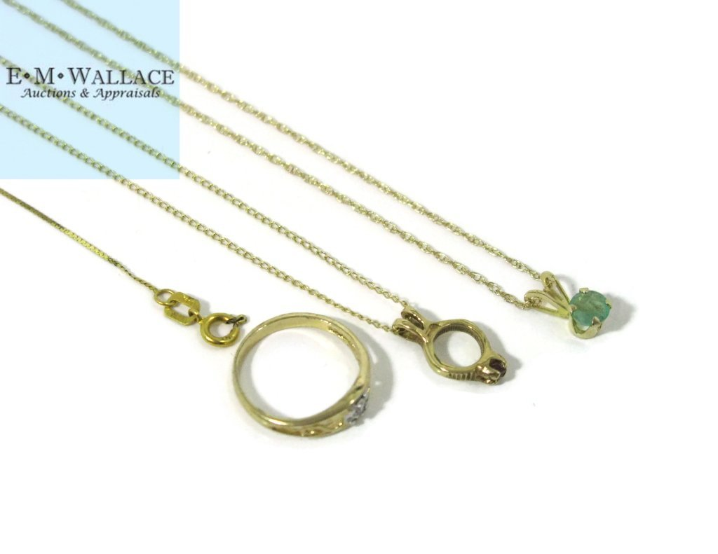 6 @ 14K GOLD NECKLACES, GEMSTONE PENDANTS & RING