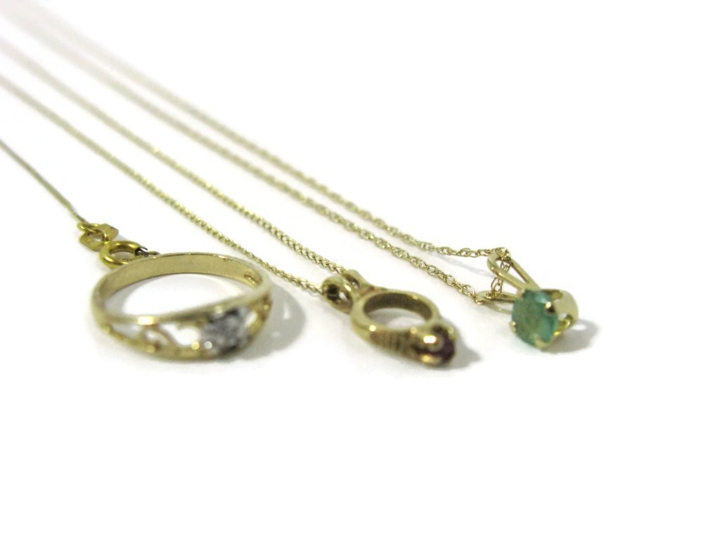 6 @ 14K GOLD NECKLACES, GEMSTONE PENDANTS & RING - 2