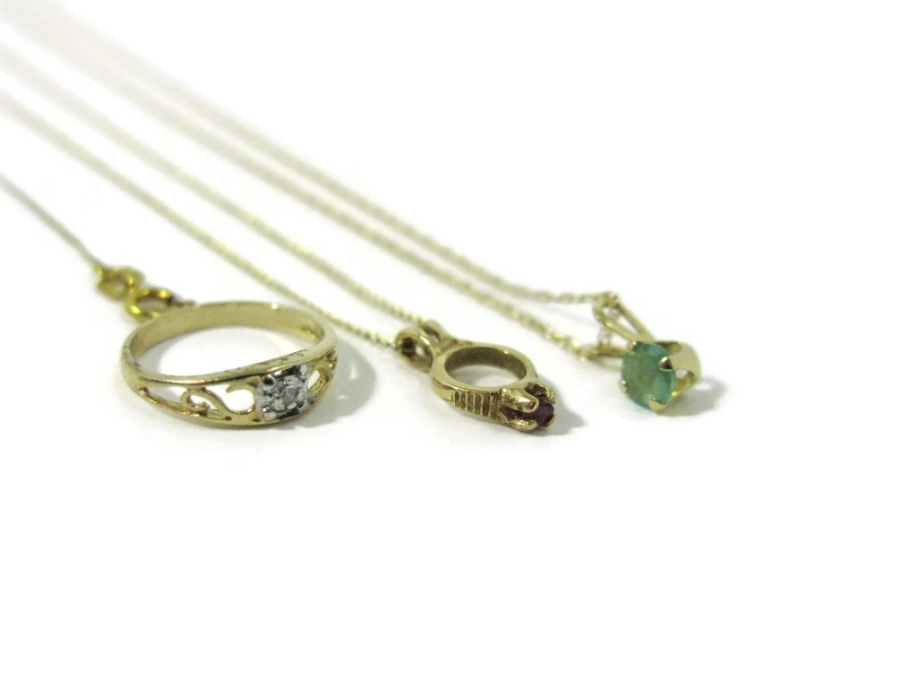 6 @ 14K GOLD NECKLACES, GEMSTONE PENDANTS & RING - 3