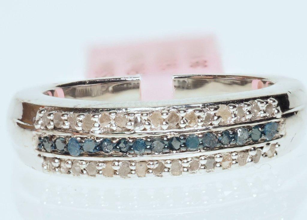 .925 STERLING SILVER RING W/ DIAMONDS BLUE & WHITE