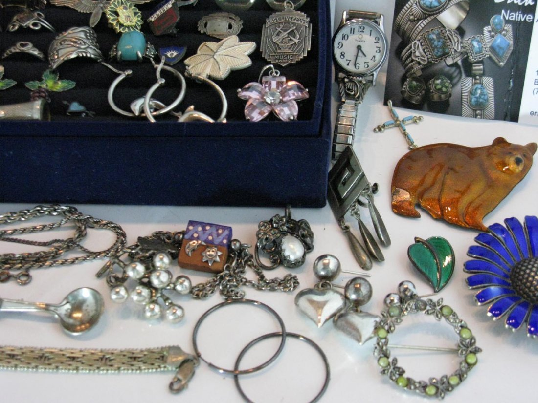 LARGE DEALERS LOT STERLING SILVER JEWELRY - 4