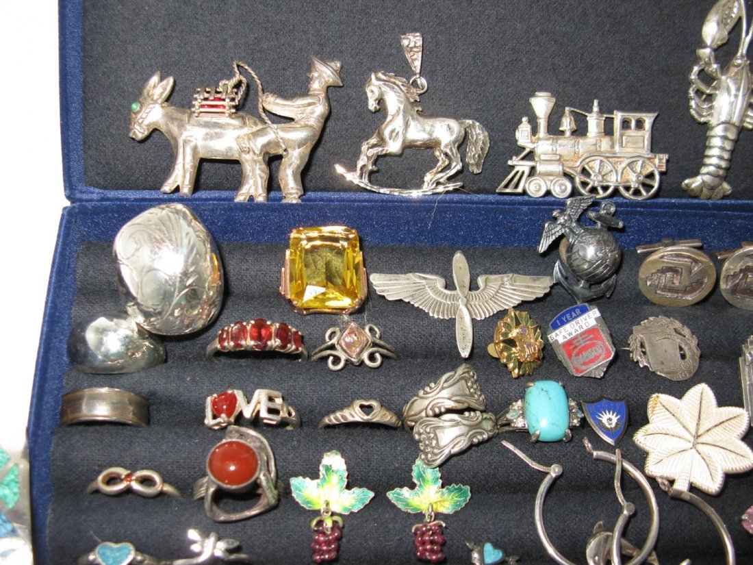 LARGE DEALERS LOT STERLING SILVER JEWELRY - 8