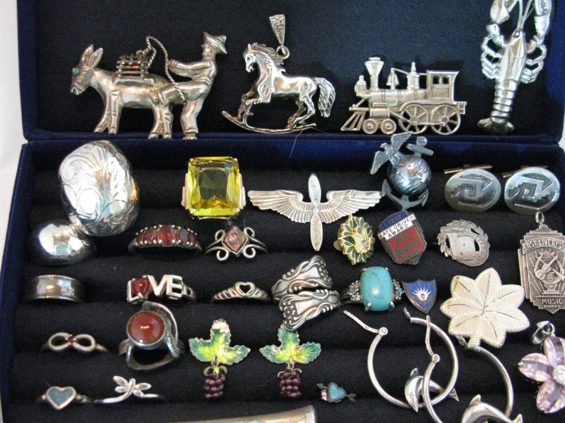 LARGE DEALERS LOT STERLING SILVER JEWELRY - 9