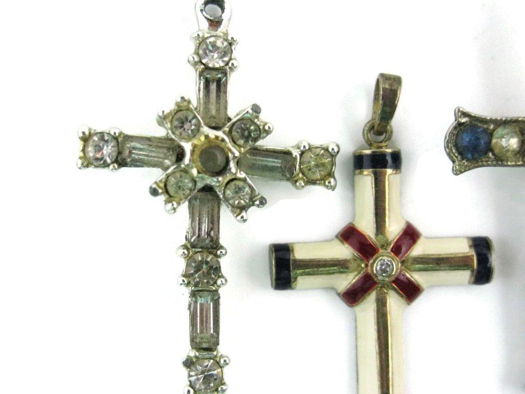 3 CROSS PENDANTS - STANHOPE, ENAMEL, DIAMOND - 3