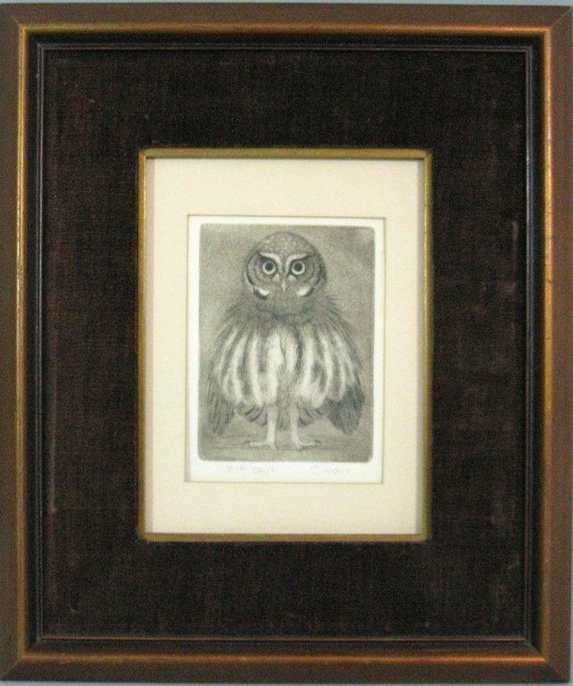 SHERIDAN OMAN SIGNED ENGRAVING ELF OWL - 2