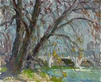 CHARLES MOVALLI LANDSCAPE ACRYLIC ON CANVAS PAINTING