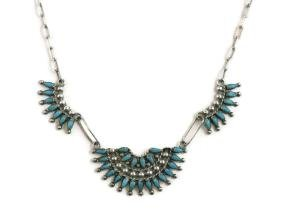 ZUNI PETIT POINT TURQUOISE & STERLING NECKLACE