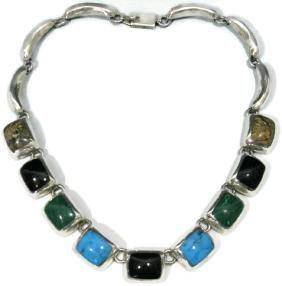 SIGNED TAXCO NECKLACE WITH MULTI-GEMSTONES