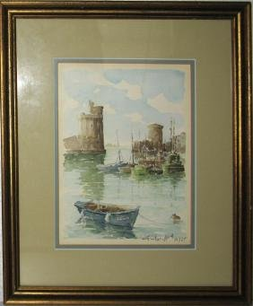 SIGNED PORT SCENE WATERCOLOR PAINTING