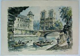 SIGNED WATERCOLOR NOTRE DAME, PARIS FRANCE
